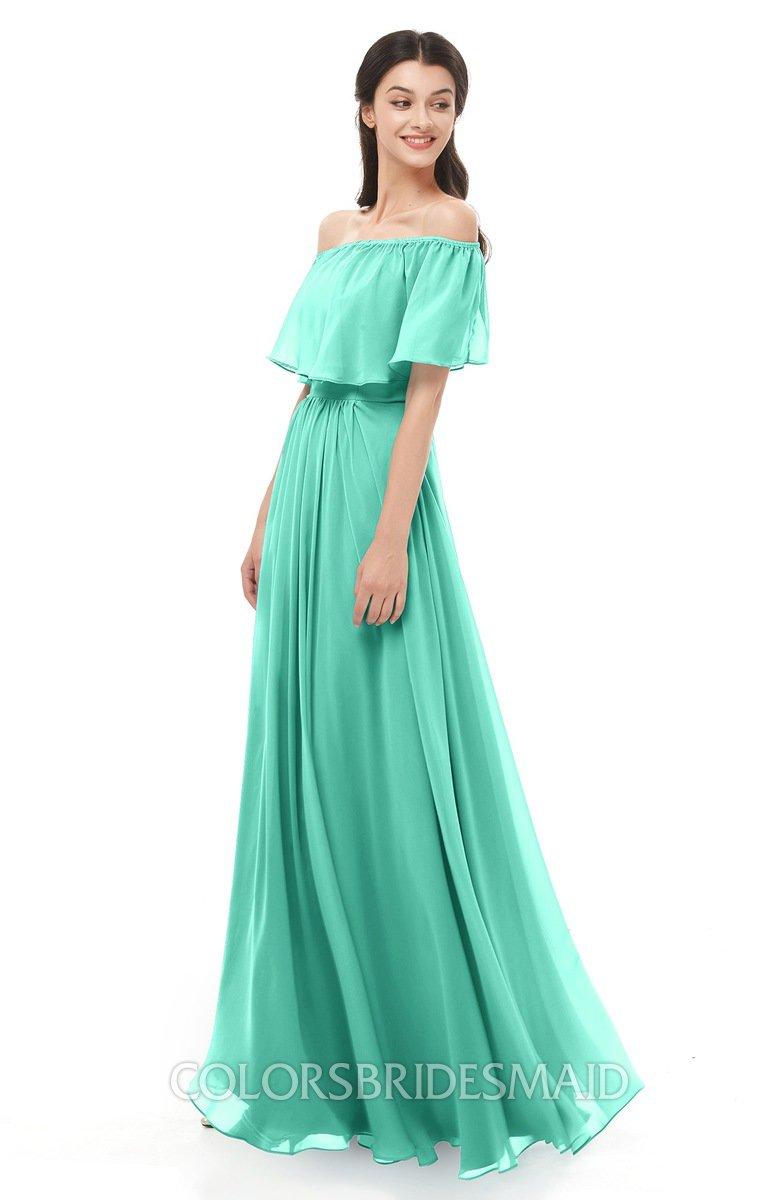 28649172585 ColsBM Hana Seafoam Green Bridesmaid Dresses Romantic Short Sleeve Floor  Length Pleated A-line Off
