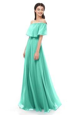 ColsBM Hana Seafoam Green Bridesmaid Dresses Romantic Short Sleeve Floor Length Pleated A-line Off The Shoulder