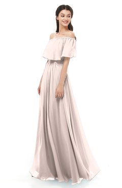 ColsBM Hana Silver Peony Bridesmaid Dresses Romantic Short Sleeve Floor Length Pleated A-line Off The Shoulder