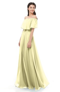 ColsBM Hana Soft Yellow Bridesmaid Dresses Romantic Short Sleeve Floor Length Pleated A-line Off The Shoulder