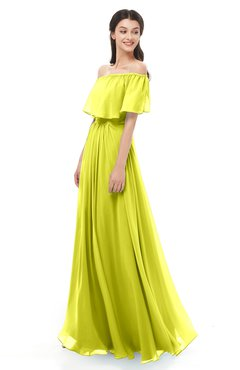 ColsBM Hana Sulphur Spring Bridesmaid Dresses Romantic Short Sleeve Floor Length Pleated A-line Off The Shoulder