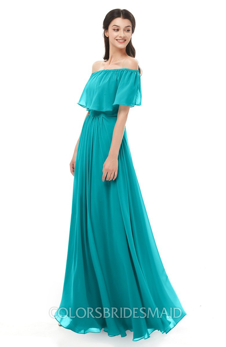 584c9931a25 ColsBM Hana Teal Bridesmaid Dresses Romantic Short Sleeve Floor Length  Pleated A-line Off The