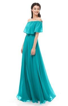 ColsBM Hana Teal Bridesmaid Dresses Romantic Short Sleeve Floor Length Pleated A-line Off The Shoulder