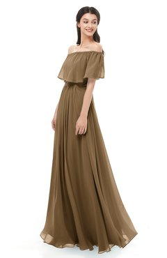 ColsBM Hana Truffle Bridesmaid Dresses Romantic Short Sleeve Floor Length Pleated A-line Off The Shoulder