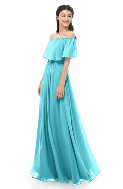 ColsBM Hana Turquoise Bridesmaid Dresses Romantic Short Sleeve Floor Length Pleated A-line Off The Shoulder