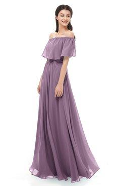 ColsBM Hana Valerian Bridesmaid Dresses Romantic Short Sleeve Floor Length Pleated A-line Off The Shoulder