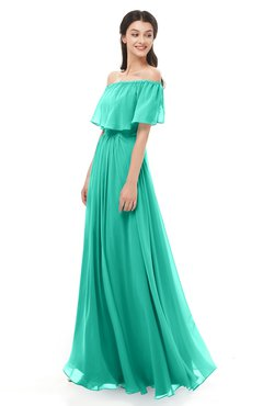 ColsBM Hana Viridian Green Bridesmaid Dresses Romantic Short Sleeve Floor Length Pleated A-line Off The Shoulder