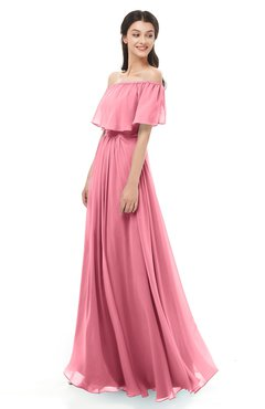ColsBM Hana Watermelon Bridesmaid Dresses Romantic Short Sleeve Floor Length Pleated A-line Off The Shoulder