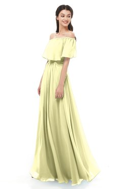 ColsBM Hana Wax Yellow Bridesmaid Dresses Romantic Short Sleeve Floor Length Pleated A-line Off The Shoulder