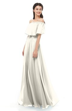 ColsBM Hana Whisper White Bridesmaid Dresses Romantic Short Sleeve Floor Length Pleated A-line Off The Shoulder