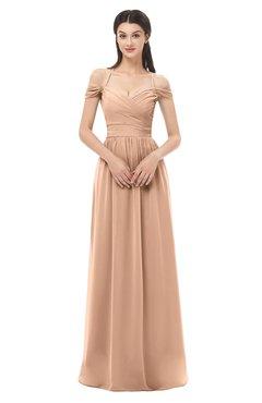 ColsBM Amirah Almost Apricot Bridesmaid Dresses Halter Zip up Pleated Floor Length Elegant Short Sleeve