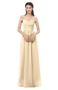 ColsBM Amirah Apricot Gelato Bridesmaid Dresses Halter Zip up Pleated Floor Length Elegant Short Sleeve