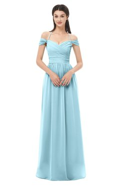 ColsBM Amirah Aqua Bridesmaid Dresses Halter Zip up Pleated Floor Length Elegant Short Sleeve