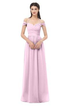 ColsBM Amirah Baby Pink Bridesmaid Dresses Halter Zip up Pleated Floor Length Elegant Short Sleeve