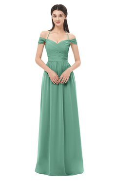 ColsBM Amirah Beryl Green Bridesmaid Dresses Halter Zip up Pleated Floor Length Elegant Short Sleeve