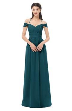 ColsBM Amirah Blue Green Bridesmaid Dresses Halter Zip up Pleated Floor Length Elegant Short Sleeve