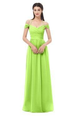 ColsBM Amirah Bright Green Bridesmaid Dresses Halter Zip up Pleated Floor Length Elegant Short Sleeve