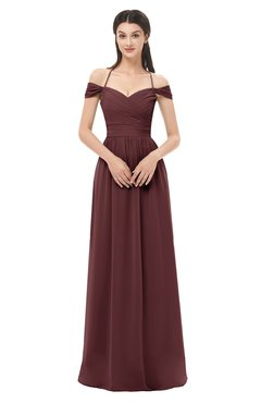 ColsBM Amirah Burgundy Bridesmaid Dresses Halter Zip up Pleated Floor Length Elegant Short Sleeve