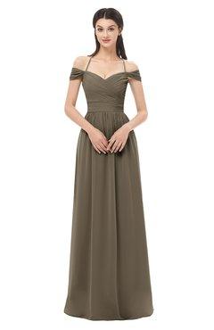 ColsBM Amirah Carafe Brown Bridesmaid Dresses Halter Zip up Pleated Floor Length Elegant Short Sleeve