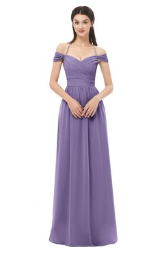 ColsBM Amirah Chalk Violet Bridesmaid Dresses Halter Zip up Pleated Floor Length Elegant Short Sleeve