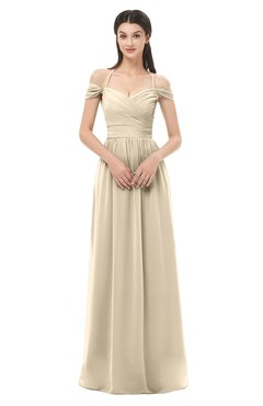 ColsBM Amirah Champagne Bridesmaid Dresses Halter Zip up Pleated Floor Length Elegant Short Sleeve