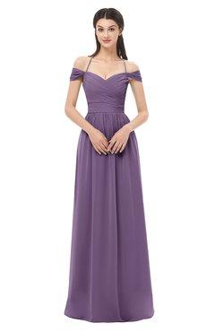 ColsBM Amirah Chinese Violet Bridesmaid Dresses Halter Zip up Pleated Floor Length Elegant Short Sleeve