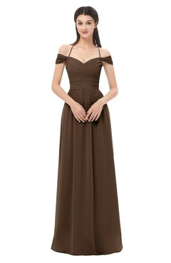 ColsBM Amirah Chocolate Brown Bridesmaid Dresses Halter Zip up Pleated Floor Length Elegant Short Sleeve