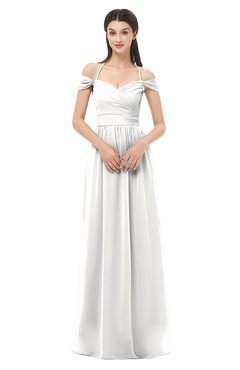 ColsBM Amirah Cloud White Bridesmaid Dresses Halter Zip up Pleated Floor Length Elegant Short Sleeve