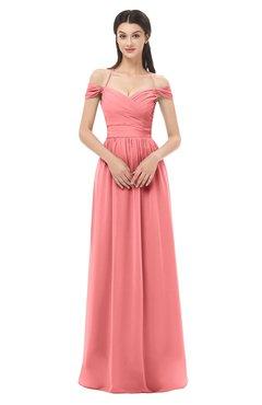 ColsBM Amirah Coral Bridesmaid Dresses Halter Zip up Pleated Floor Length Elegant Short Sleeve