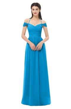 ColsBM Amirah Cornflower Blue Bridesmaid Dresses Halter Zip up Pleated Floor Length Elegant Short Sleeve