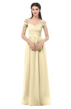 ColsBM Amirah Cornhusk Bridesmaid Dresses Halter Zip up Pleated Floor Length Elegant Short Sleeve