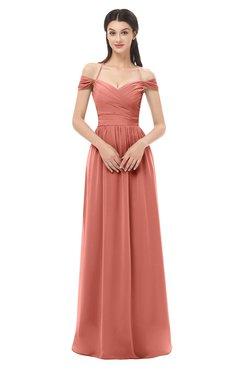 ColsBM Amirah Crabapple Bridesmaid Dresses Halter Zip up Pleated Floor Length Elegant Short Sleeve