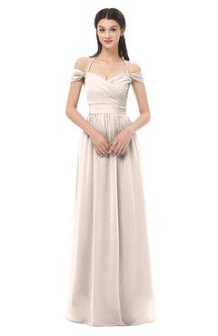 ColsBM Amirah Cream Pink Bridesmaid Dresses Halter Zip up Pleated Floor Length Elegant Short Sleeve