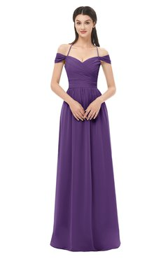 ColsBM Amirah Dark Purple Bridesmaid Dresses Halter Zip up Pleated Floor Length Elegant Short Sleeve