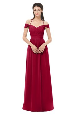 ColsBM Amirah Dark Red Bridesmaid Dresses Halter Zip up Pleated Floor Length Elegant Short Sleeve