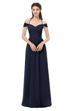 ColsBM Amirah Dark Sapphire Bridesmaid Dresses Halter Zip up Pleated Floor Length Elegant Short Sleeve