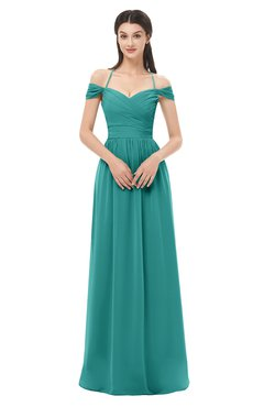 ColsBM Amirah Emerald Green Bridesmaid Dresses Halter Zip up Pleated Floor Length Elegant Short Sleeve