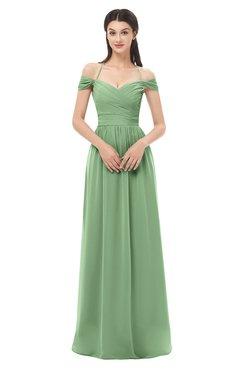 ColsBM Amirah Fair Green Bridesmaid Dresses Halter Zip up Pleated Floor Length Elegant Short Sleeve