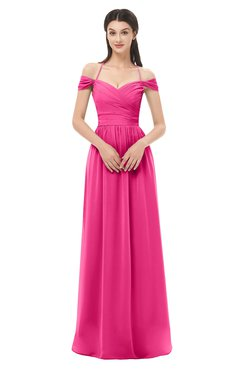 ColsBM Amirah Fandango Pink Bridesmaid Dresses Halter Zip up Pleated Floor Length Elegant Short Sleeve