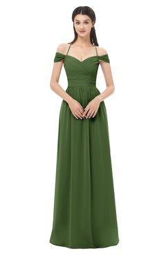 ColsBM Amirah Garden Green Bridesmaid Dresses Halter Zip up Pleated Floor Length Elegant Short Sleeve