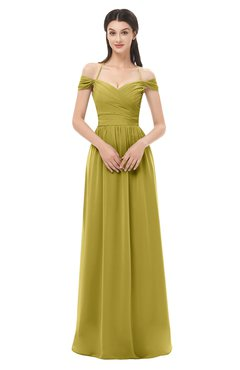 ColsBM Amirah Golden Olive Bridesmaid Dresses Halter Zip up Pleated Floor Length Elegant Short Sleeve