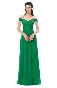 ColsBM Amirah Green Bridesmaid Dresses Halter Zip up Pleated Floor Length Elegant Short Sleeve