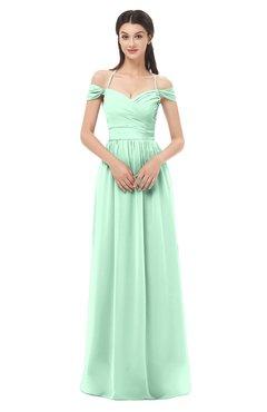 ColsBM Amirah Honeydew Bridesmaid Dresses Halter Zip up Pleated Floor Length Elegant Short Sleeve