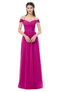 ColsBM Amirah Hot Pink Bridesmaid Dresses Halter Zip up Pleated Floor Length Elegant Short Sleeve