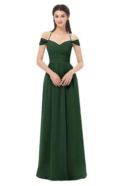 ColsBM Amirah Hunter Green Bridesmaid Dresses Halter Zip up Pleated Floor Length Elegant Short Sleeve