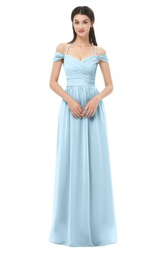 ColsBM Amirah Ice Blue Bridesmaid Dresses Halter Zip up Pleated Floor Length Elegant Short Sleeve