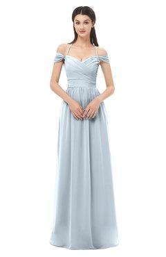 ColsBM Amirah Illusion Blue Bridesmaid Dresses Halter Zip up Pleated Floor Length Elegant Short Sleeve