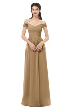 ColsBM Amirah Indian Tan Bridesmaid Dresses Halter Zip up Pleated Floor Length Elegant Short Sleeve