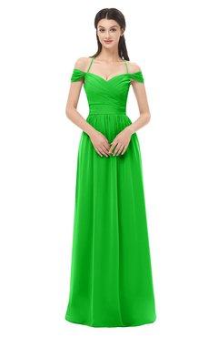 ColsBM Amirah Jasmine Green Bridesmaid Dresses Halter Zip up Pleated Floor Length Elegant Short Sleeve