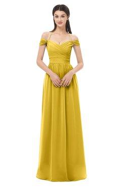 ColsBM Amirah Lemon Curry Bridesmaid Dresses Halter Zip up Pleated Floor Length Elegant Short Sleeve